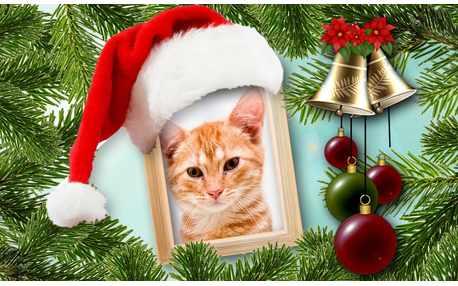 Moldura - Feliz Natal Montagem Gorro De Natal