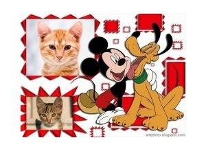 Moldura para duas Fotos - Pluto E Mickey