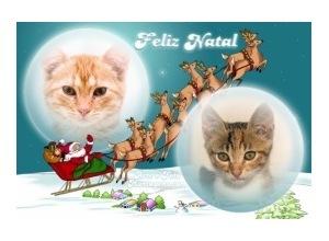 Moldura para duas Fotos - Papai Noel