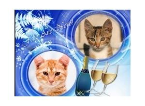 Moldura para duas Fotos - Champagne De Ano Novo