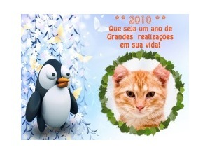 Moldura - Feliz 2010   Pinguim