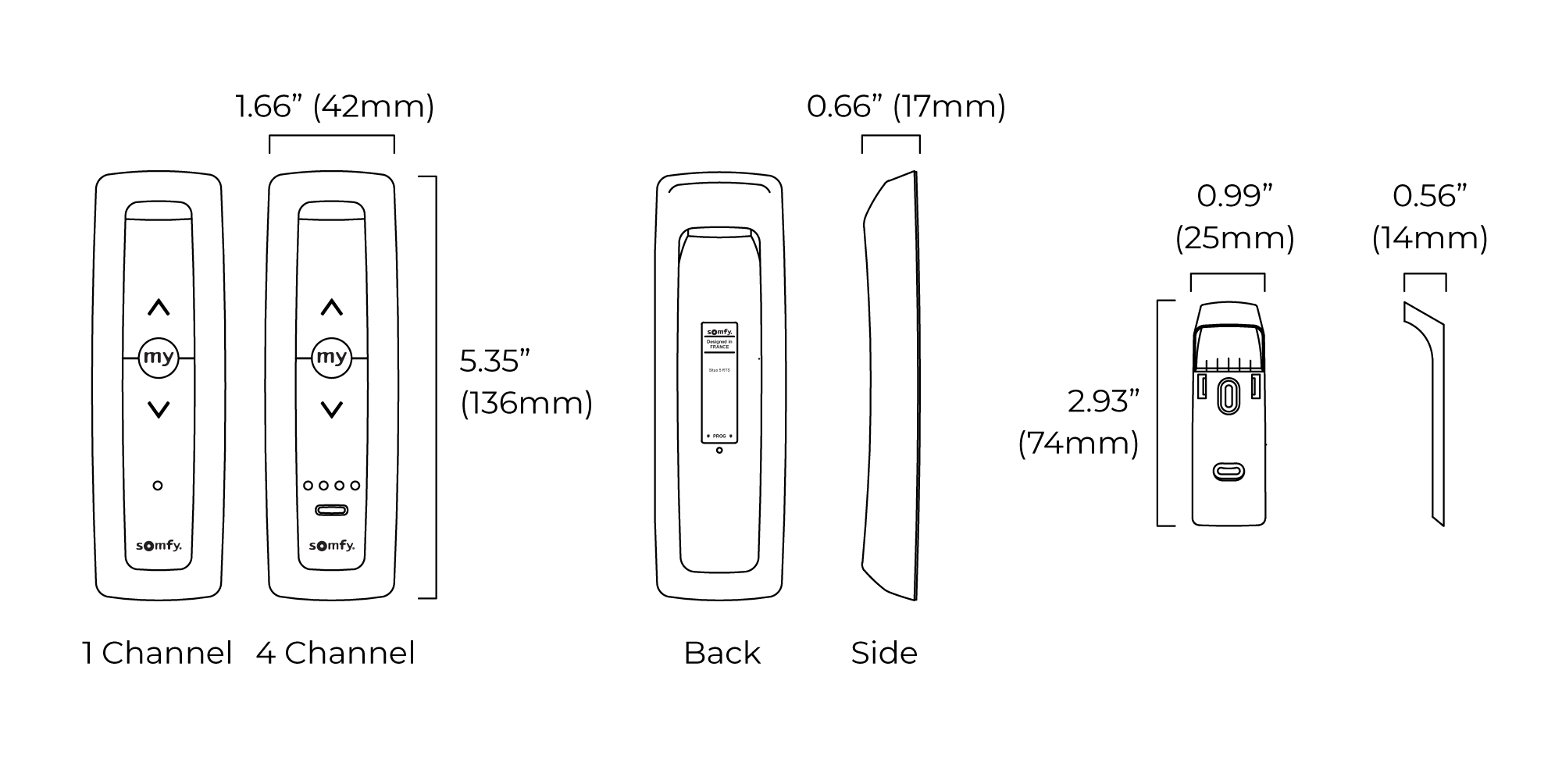 Situo Remote - 1 & 4 spec drawing