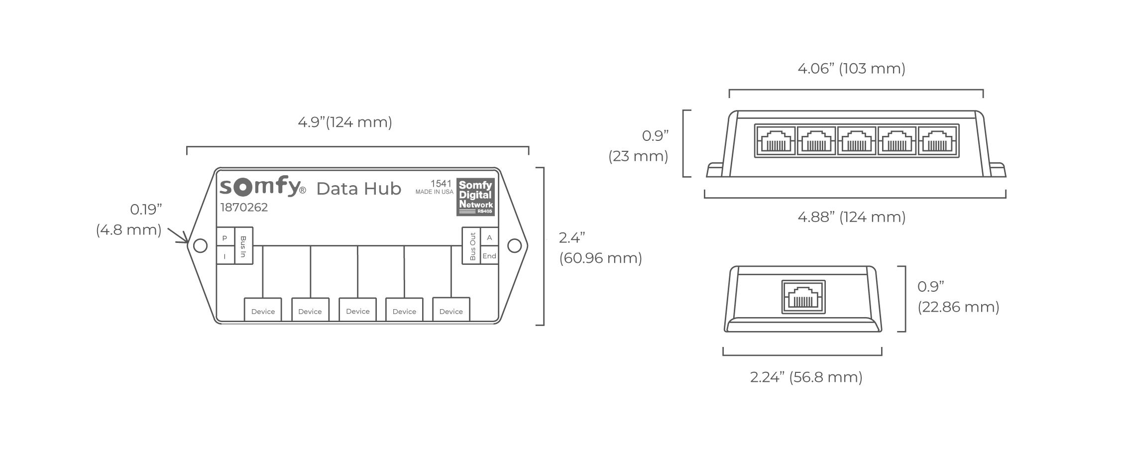 Somfy Data Hub - spec drawing