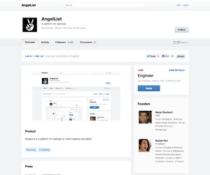 AngelList Jobs : Screenshot