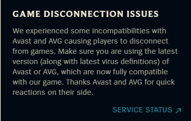 Avast blocking/disconnecting League of Legends online game