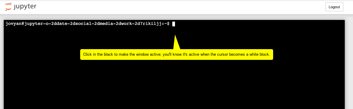 Image showing the terminal in jupyter, saying to click the black area to make the window active