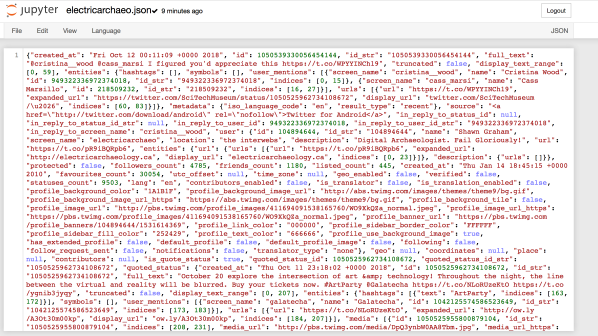 Image showing the full JSON file in jupyter of eletric archaeo's tweets