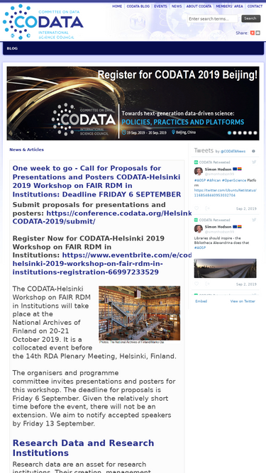 codata.org on an iPhone