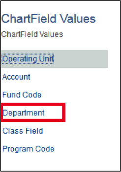 ChartField Values Page