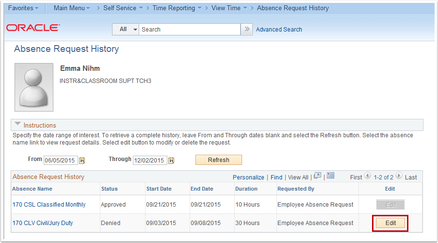 Absence Request History