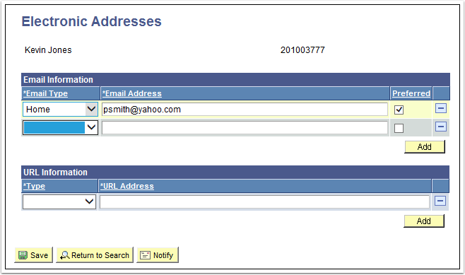 Electronic Addresses tab