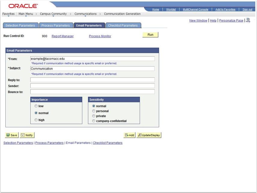 Email Parameters tab
