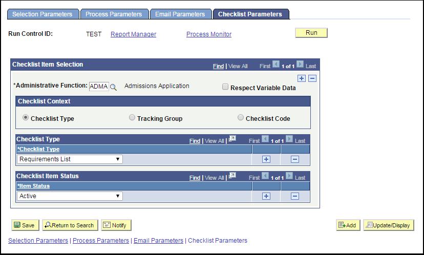 Checklist Parameters tab