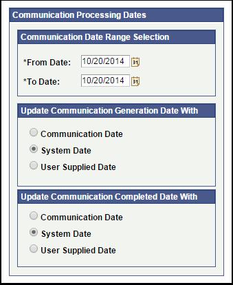 Communication Date Range Selection