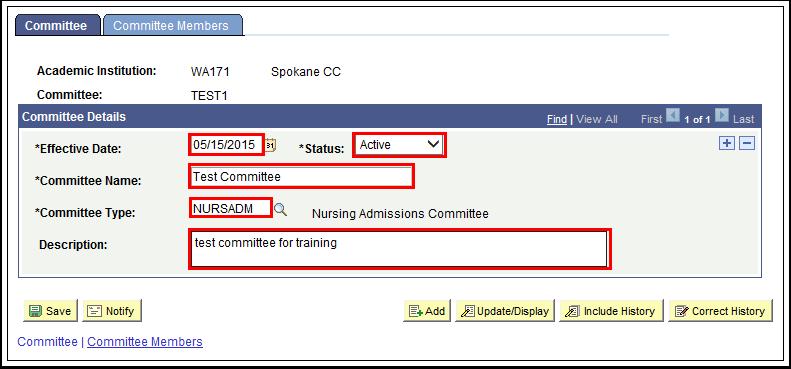 Committee tab