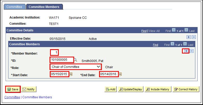 Committee Members tab