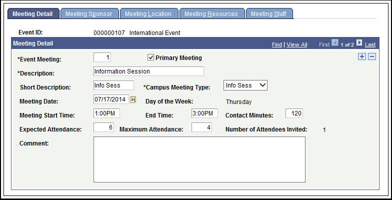 Meeting Detail tab