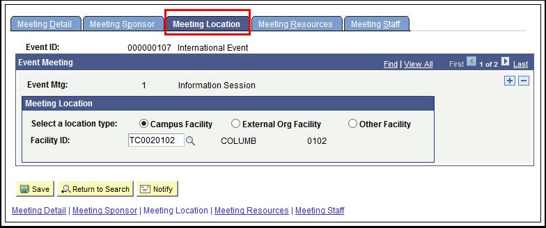 Meeting Location tab