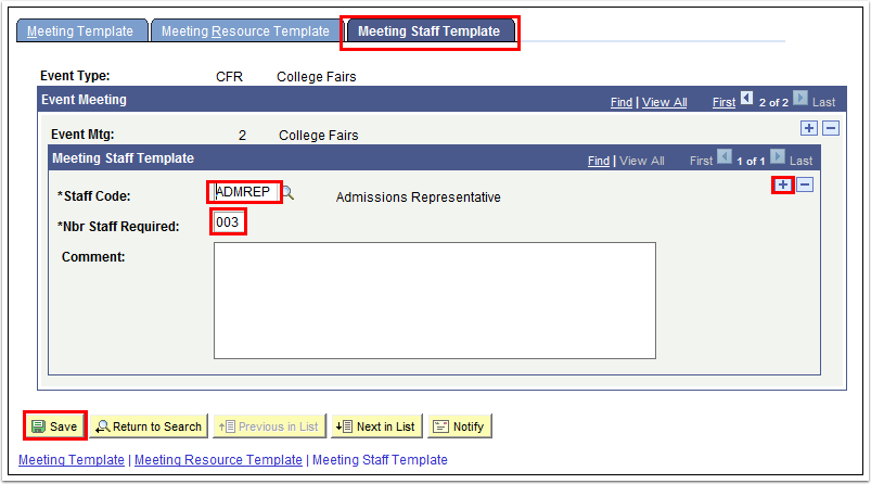 Meeting Staff Template tab