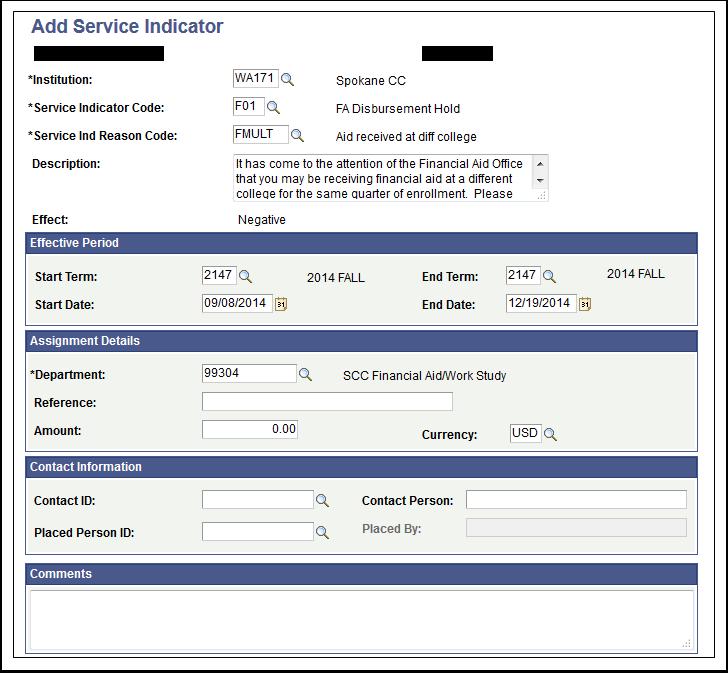 Add Service Indicator page