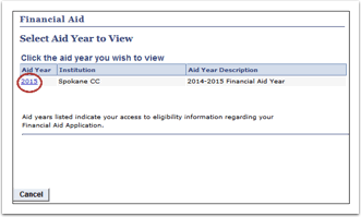 Select Aid Year to View