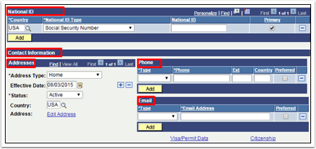 National ID and Contact Information tabs