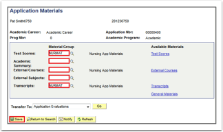 Application Materials page