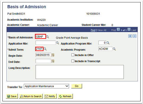 Basis of Admission
