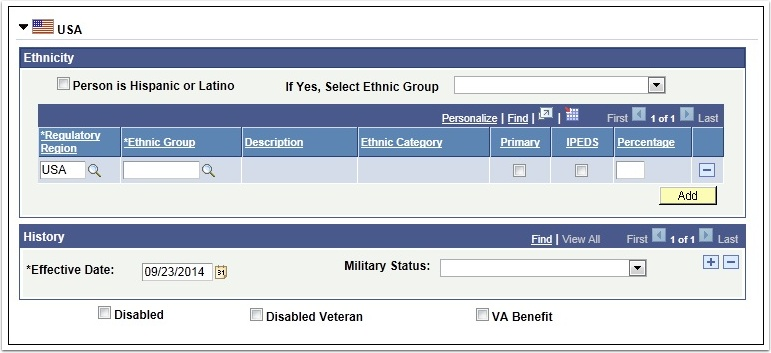 Ethnicity section