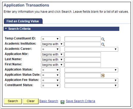 Find an Existing Value tab