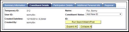 Constituent Details tab