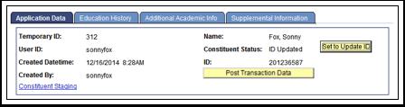 Application Data tab