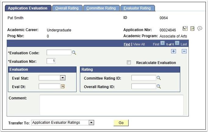 Application Evaluation tab
