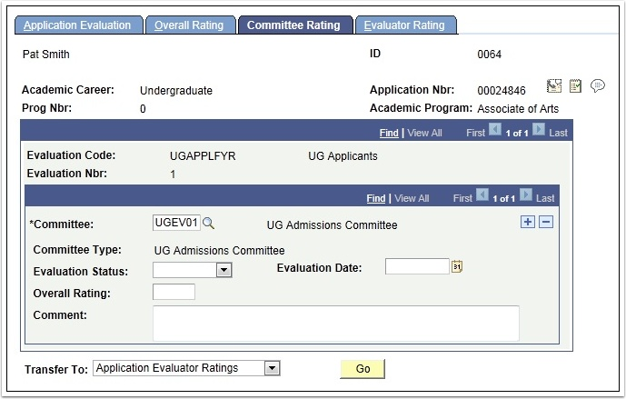 Committee Rating tab