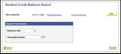 Student Credit Balance Report