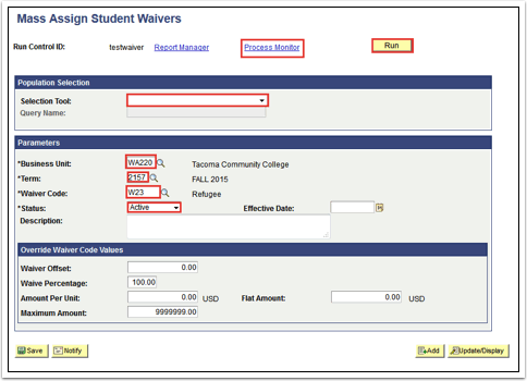 Mass Assign Student Waivers