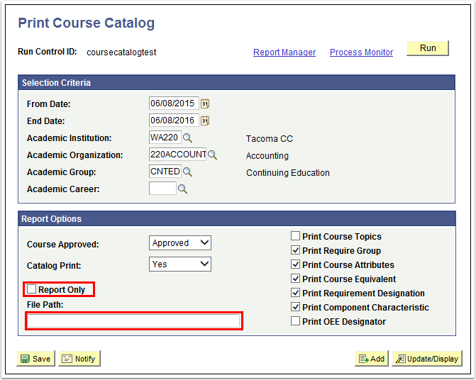 Print Course Catalog page