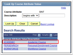 Look Up Course Attribute Value Page