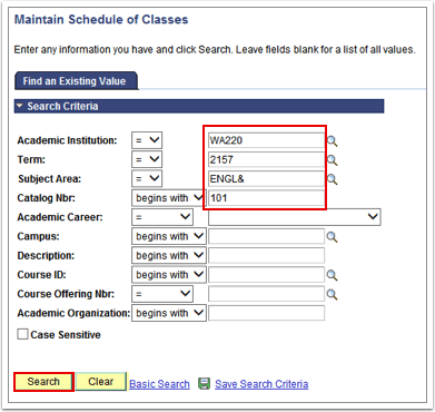 Maintain Schedule of Classes Page