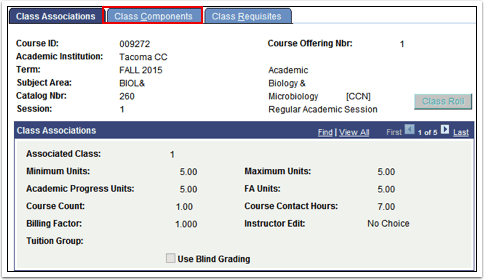 Class  Components tab