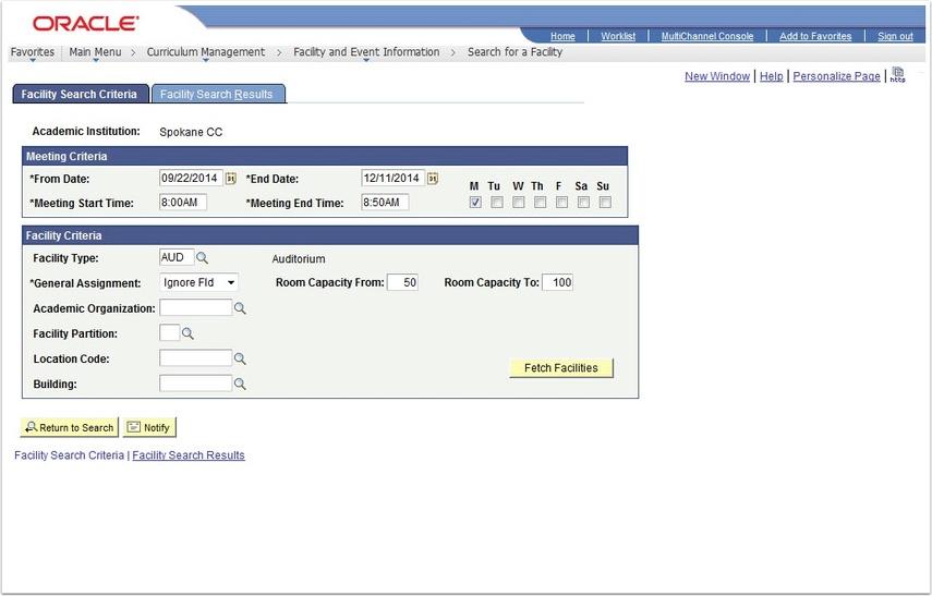 Facility Search Criteria tab