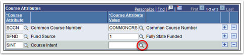 Course Attributes Section