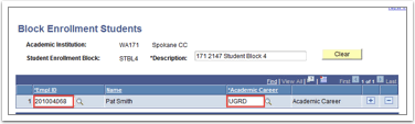 Block Enrollment Students page