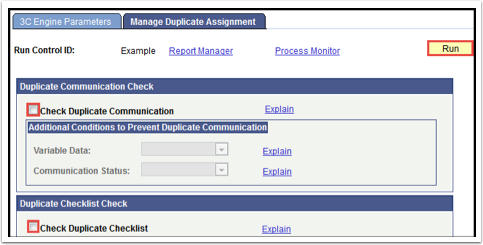 Manage Duplicate Assignement tab