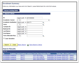 Enrollment Summary Search Results page