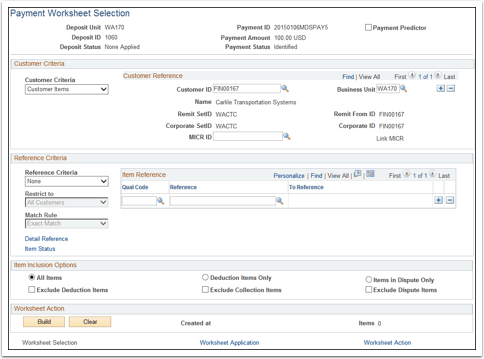 Paymente Worksheet Selection page