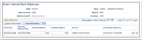 Enter Internal Bank Balances