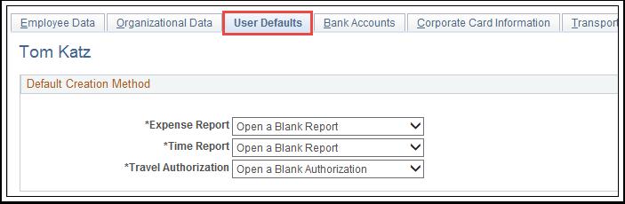 User Defaults tab
