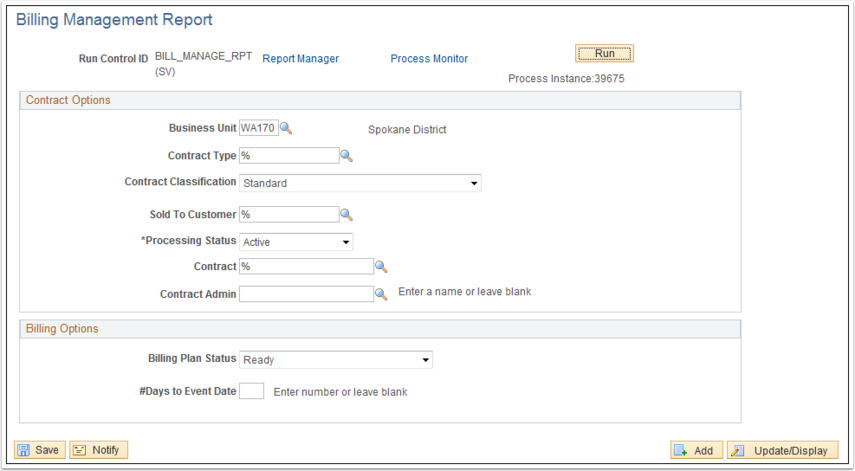 Billing Management Report page