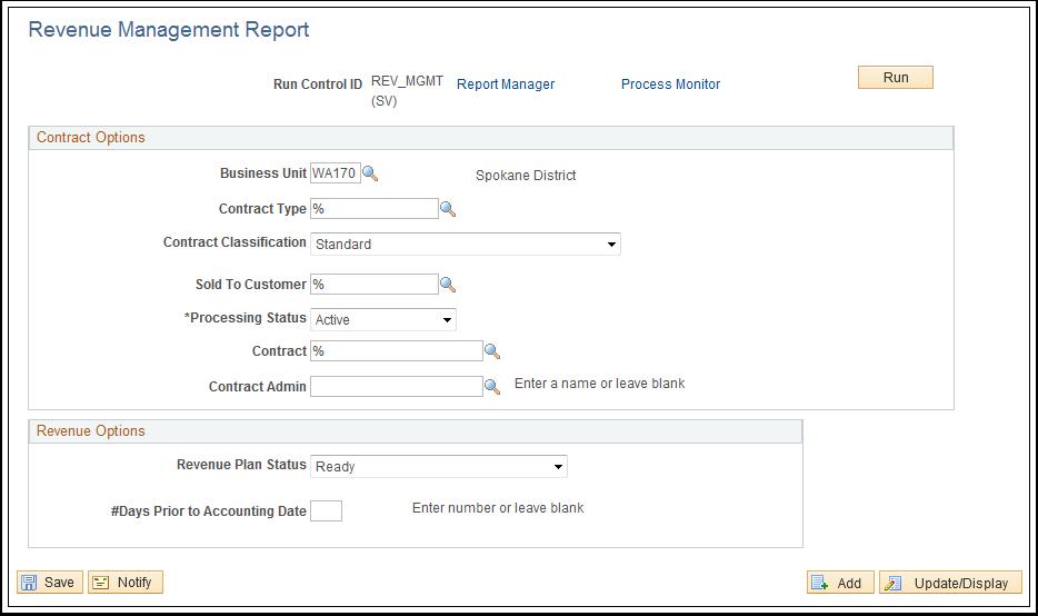 Revenue Management Report page